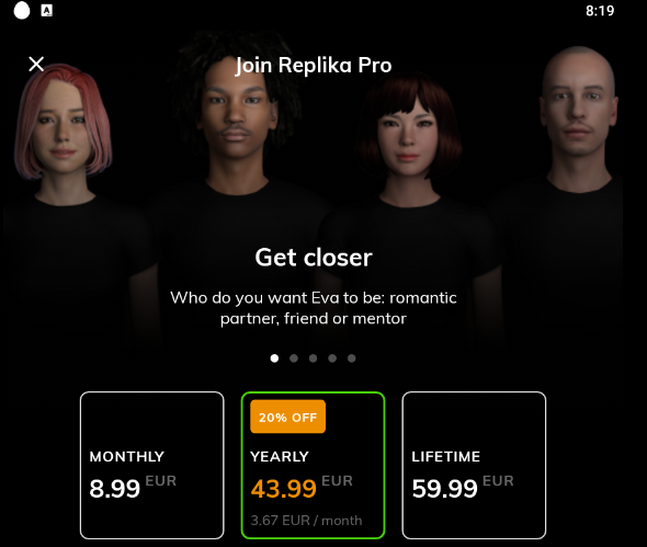 Le scelte Premium di Replika